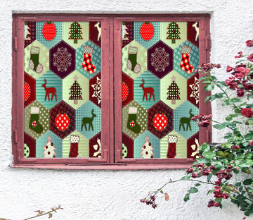 3D Hexagon Christmas Pattern 42193 Christmas Window Film Print Sticker Cling Stained Glass Xmas
