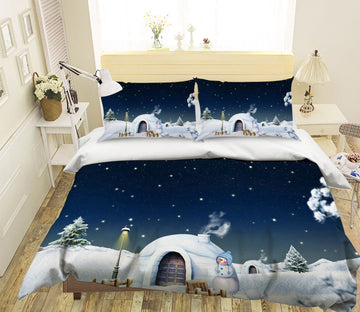 3D Christmas Snow House 16 Bed Pillowcases Quilt