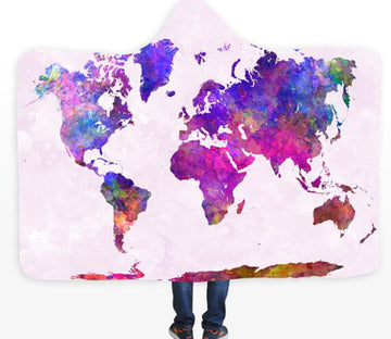 3D Watercolor Map 584 Hooded Blanket