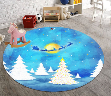 3D Graffiti White Tree Moon 104 Round Non Slip Rug Mat Mat AJ Creativity Home