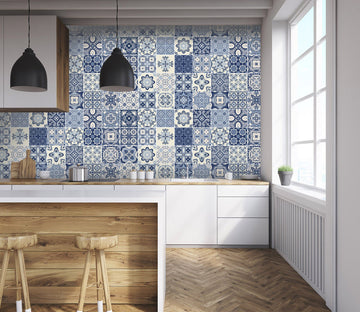 3D Blue Handmade Mosaic Pattern 099 Marble Tile Texture Wallpaper AJ Wallpaper 2