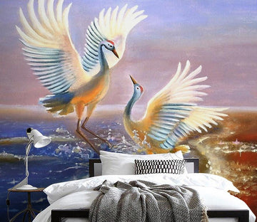 3D Red Crowned Crane 592 Wall Murals