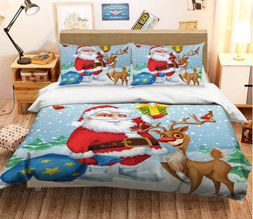 3D Christmas Old Head Antler 48 Bed Pillowcases Quilt