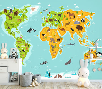 3D Colored Island 2162 World Map Wall Murals