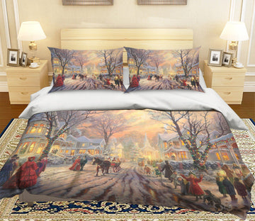 3D Christmas Sunset Junction 4 Bed Pillowcases Quilt