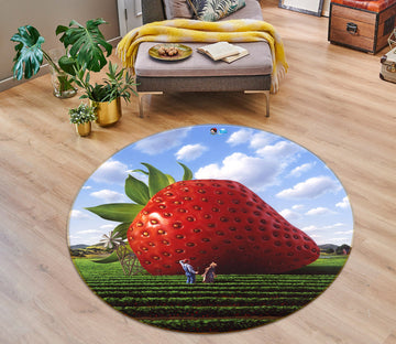 3D Strawberry Meadow 85130 Jerry LoFaro Rug Round Non Slip Rug Mat