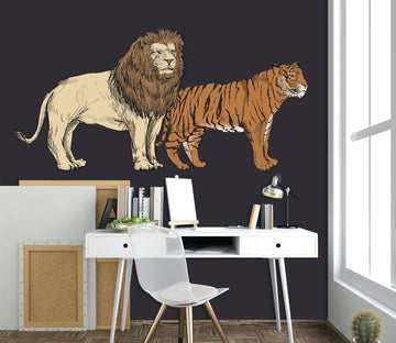 3D Lion Tiger 063 Animals Wall Stickers Wallpaper AJ Wallpaper