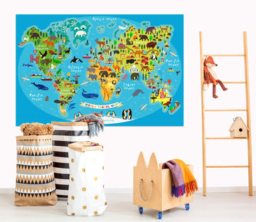 3D Colored Island 284 World Map Wall Sticker
