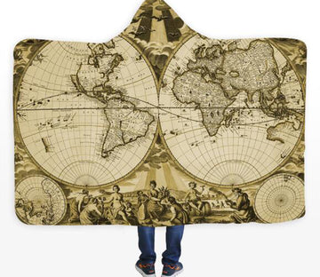 3D Noble Circular Map 572 Hooded Blanket