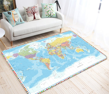 3D Terrestrial Ocean 315 World Map Non Slip Rug Mat