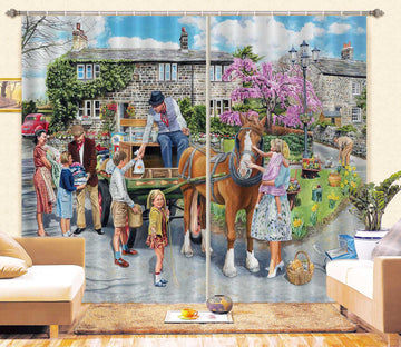 3D Petting The Horse 085 Trevor Mitchell Curtain Curtains Drapes
