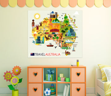 3D Color Houses 233 World Map Wall Sticker