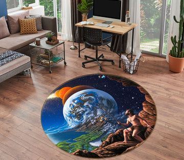 3D Planet Earth 85127 Jerry LoFaro Rug Round Non Slip Rug Mat