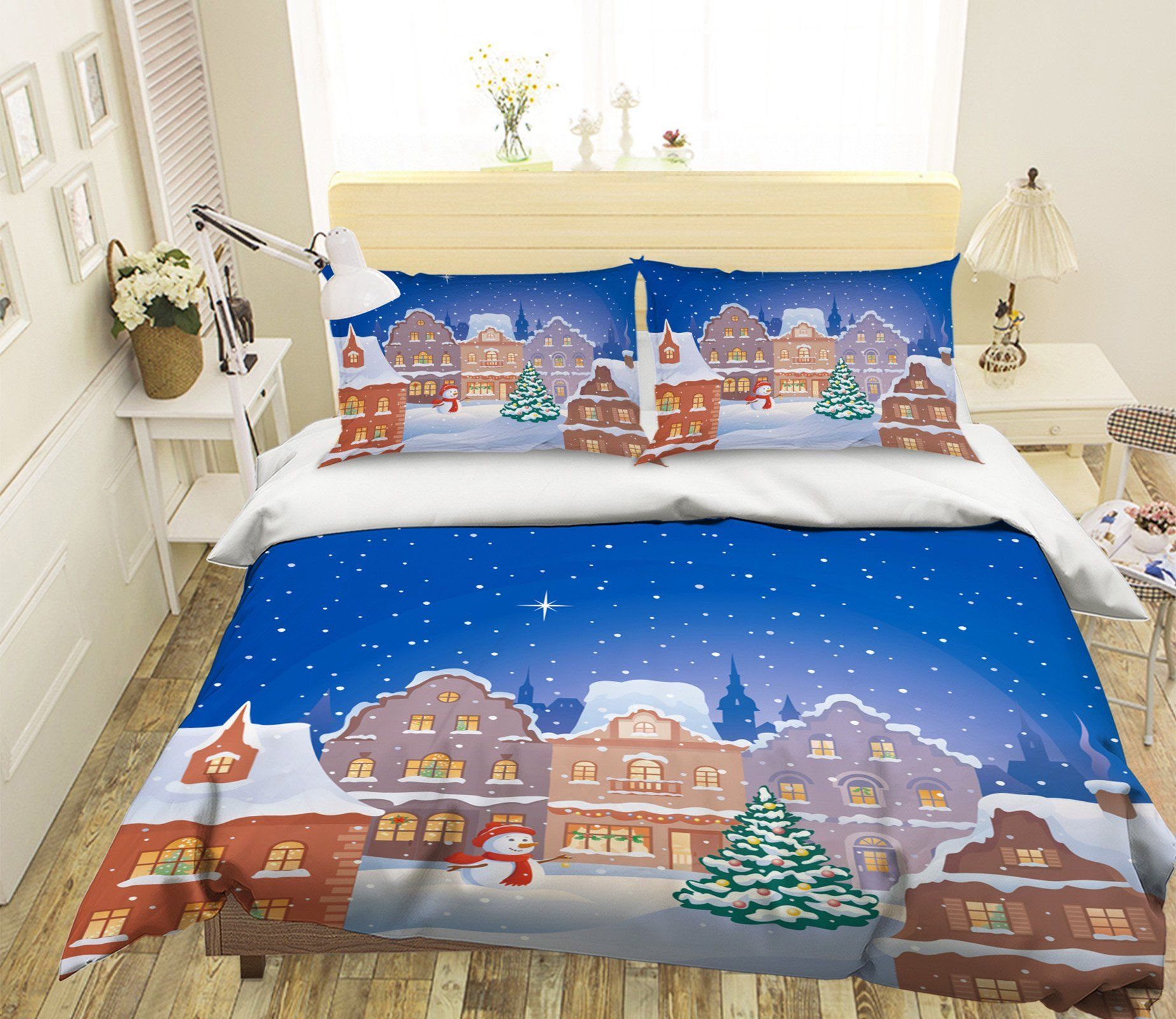 3D Christmas Lovely Town 8 Bed Pillowcases Quilt