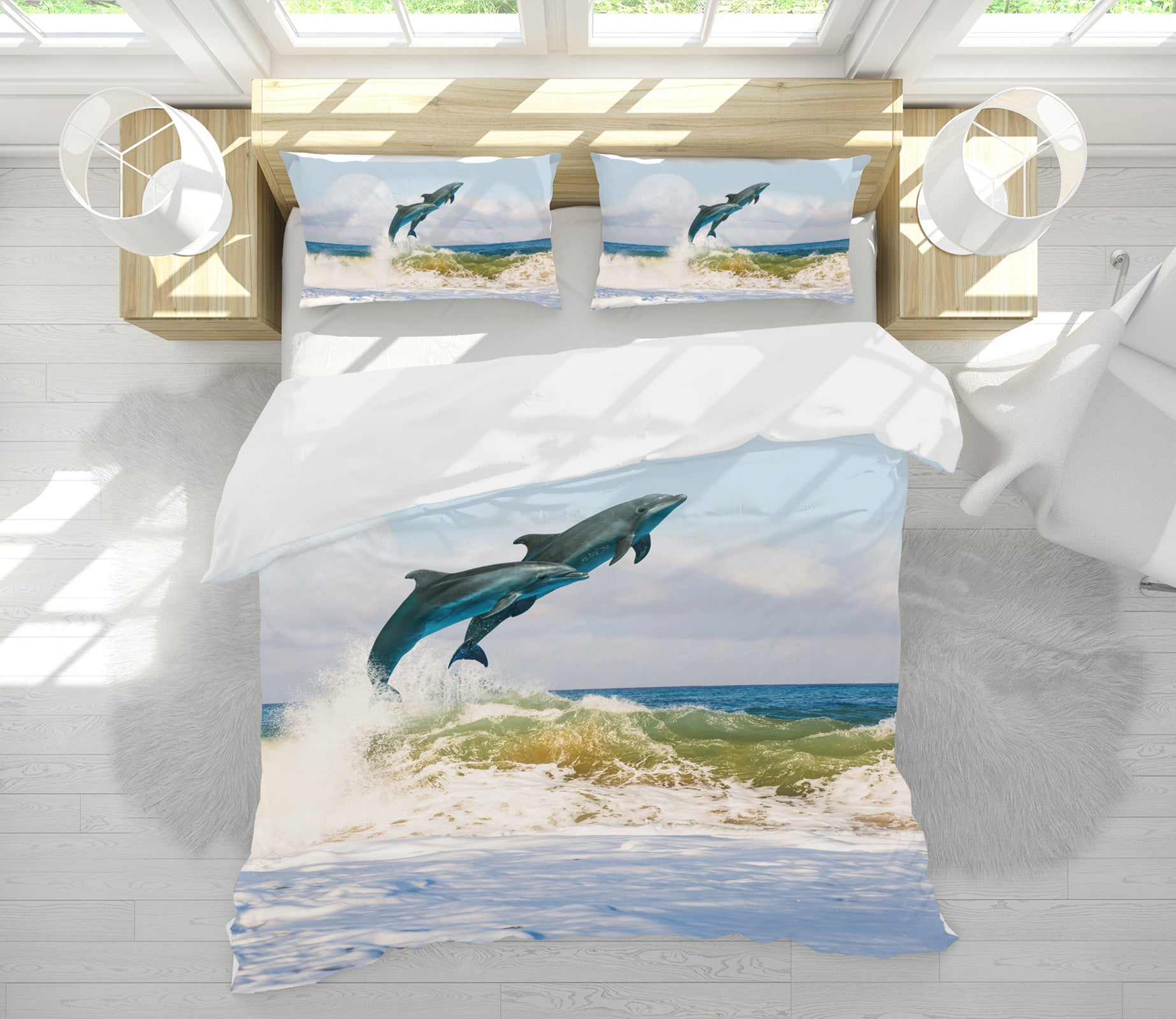 3D Jumping Dolphin 21049 Bed Pillowcases Quilt