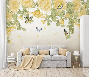 3D Flower Butterfly 1773 Wall Murals