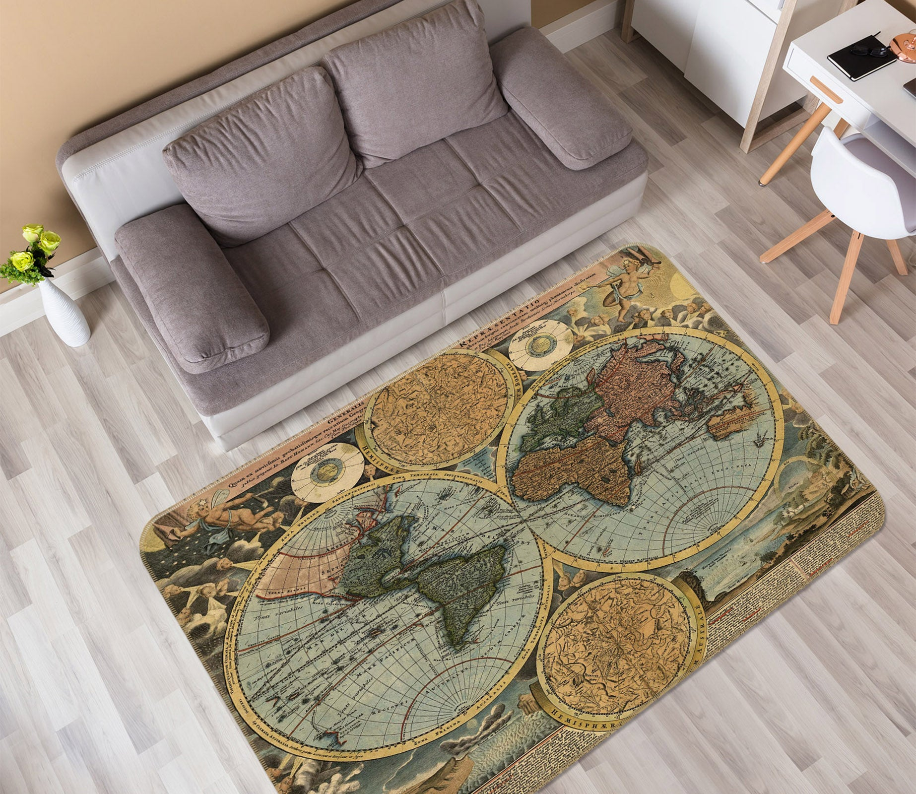 3D Yellow Globe 210 World Map Non Slip Rug Mat