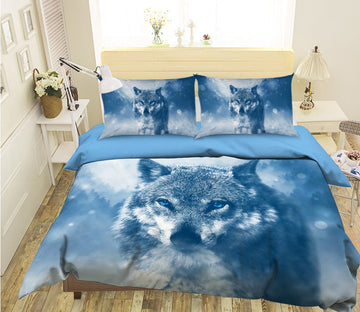 3D Snow Wolf 2011 Bed Pillowcases Quilt