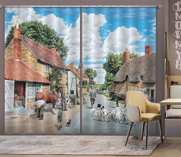 3D The Village Farrier 113 Trevor Mitchell Curtain Curtains Drapes