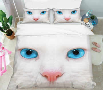 3D White Cat Face 21033 Bed Pillowcases Quilt