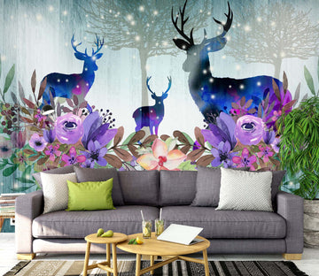 3D Flower Deer 1453 Wall Murals