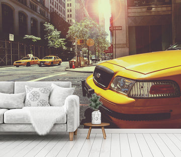 3D Yellow Taxi 400 Vehicle Wall Murals