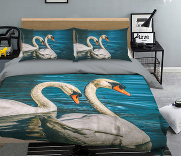 3D Goose Swimming 1998 Bed Pillowcases Quilt