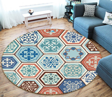 3D Patterned Hexagonal Bricks 64144 Round Non Slip Rug Mat