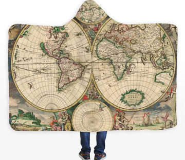 3D Christian World Map 329 Hooded Blanket