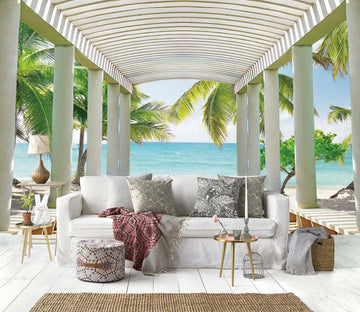 3D Coconut Gazebo 1446 Wall Murals