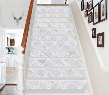 3D Elegant Grid 8547 Marble Tile Texture Stair Risers Wallpaper AJ Wallpaper