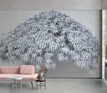 3D Blue Leaves WC204 Wall Murals