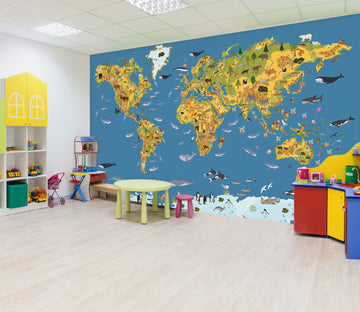 3D Color Island 2141 World Map Wall Murals
