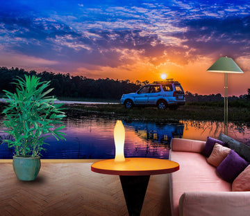 3D Lake Sunset Car 939 Vehicle Wall Murals