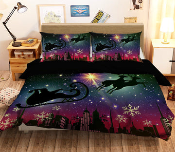 3D Christmas Night Sled 13 Bed Pillowcases Quilt