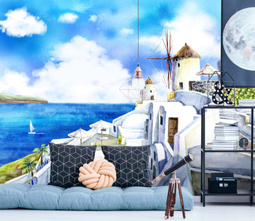 3D Hand Painted Aegean Sea 035 Wall Murals