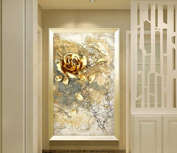 3D Golden Flower WC289 Wall Murals
