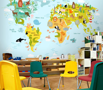 3D Animal Map 178 Wall Murals