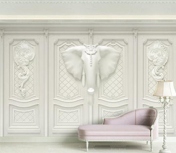 3D White Elephant WC153 Wall Murals