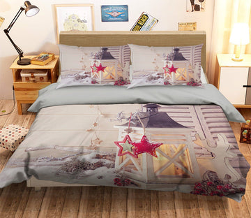 3D Christmas Candle Decoration 12 Bed Pillowcases Quilt