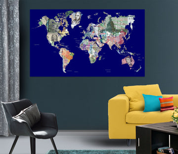 3D Color Island 215 World Map Wall Sticker