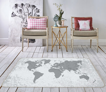 3D Grey World 317 World Map Non Slip Rug Mat