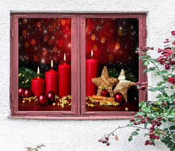 3D Red Candle 42166 Christmas Window Film Print Sticker Cling Stained Glass Xmas