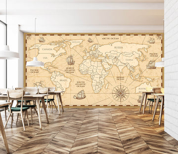 3D Line Painting 2158 World Map Wall Murals