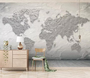 3D White Map WC347 Wall Murals