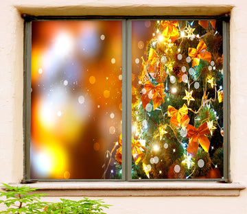 3D Golden Bow 42173 Christmas Window Film Print Sticker Cling Stained Glass Xmas