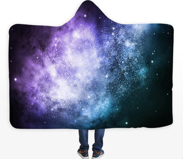 3D Purple Stars 120 Hooded Blanket