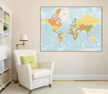 3D Painted Pattern 241 World Map Wall Sticker