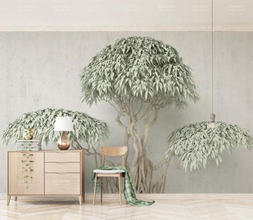 3D Blue Leaves WC218 Wall Murals