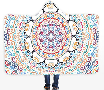 3D Color Pattern 091 Hooded Blanket